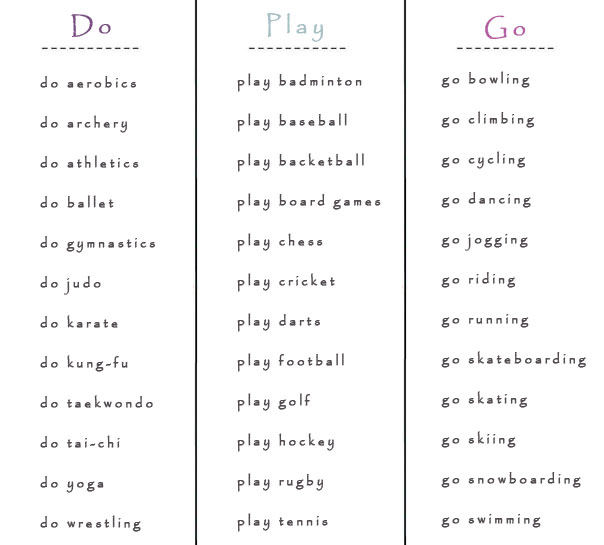 Do, Play or Go with Various Sports - learn English,english,verb,grammar