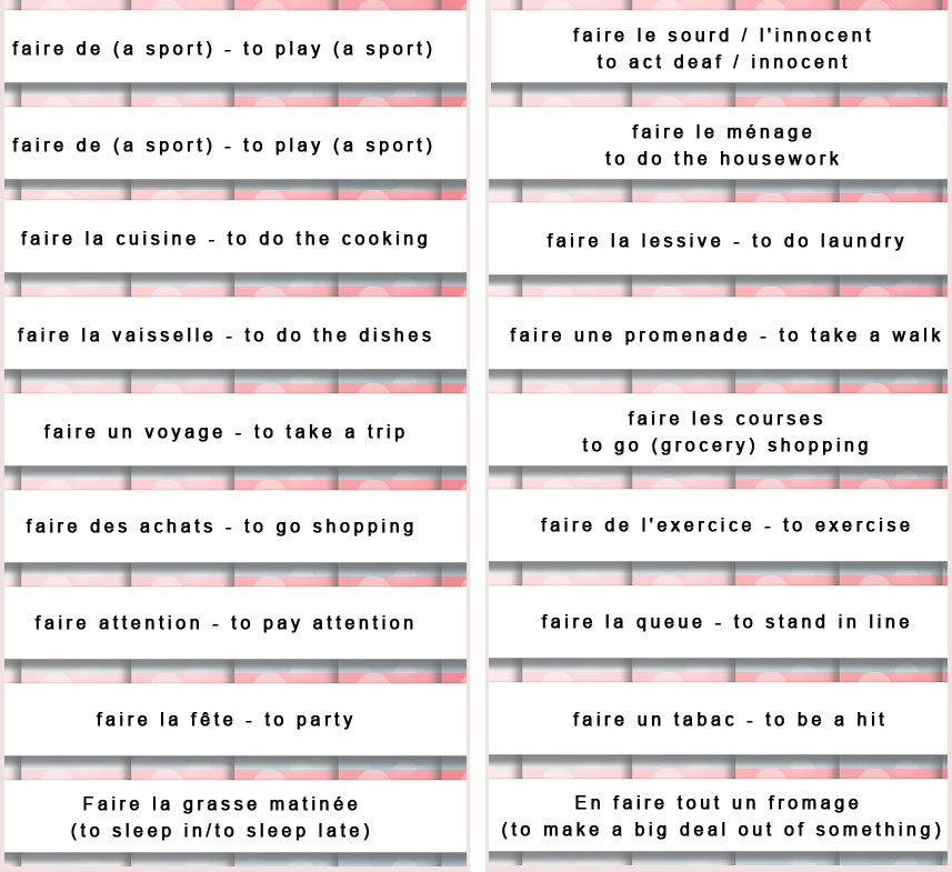 how to say faire in french