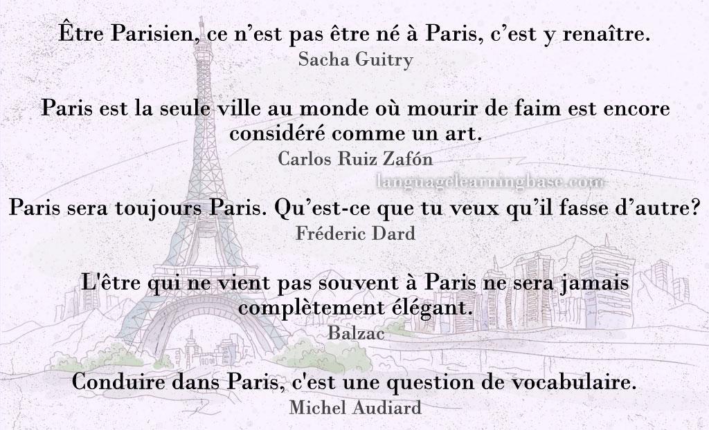 Les Plus Belles Citations Sur Paris Learn French Francais Citations