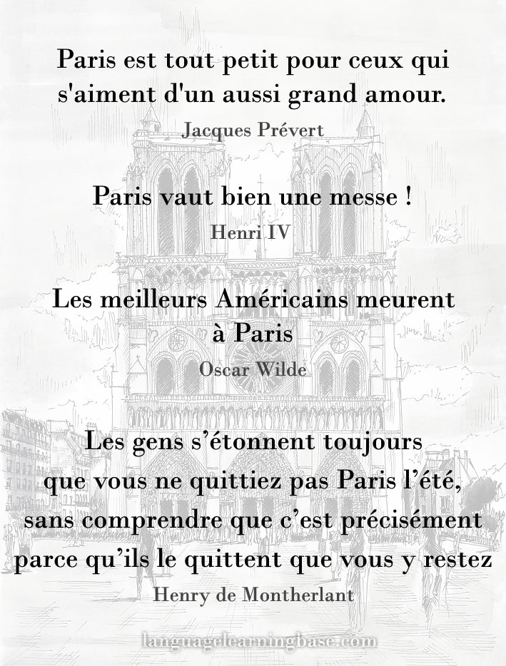 Les Plus Belles Citations Sur Paris Learn French Francais
