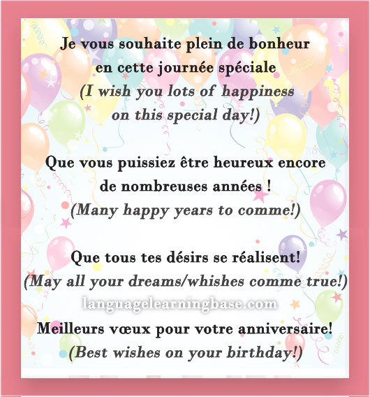 Comment Souhaiter Un Joyeux Anniversaire En Français Learn French