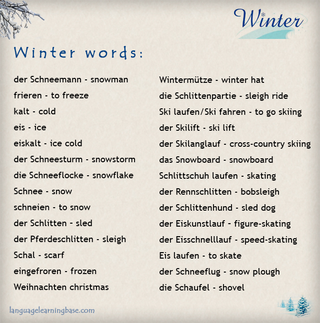 German Winter Vocabulary - learn German,words,vocabulary,german