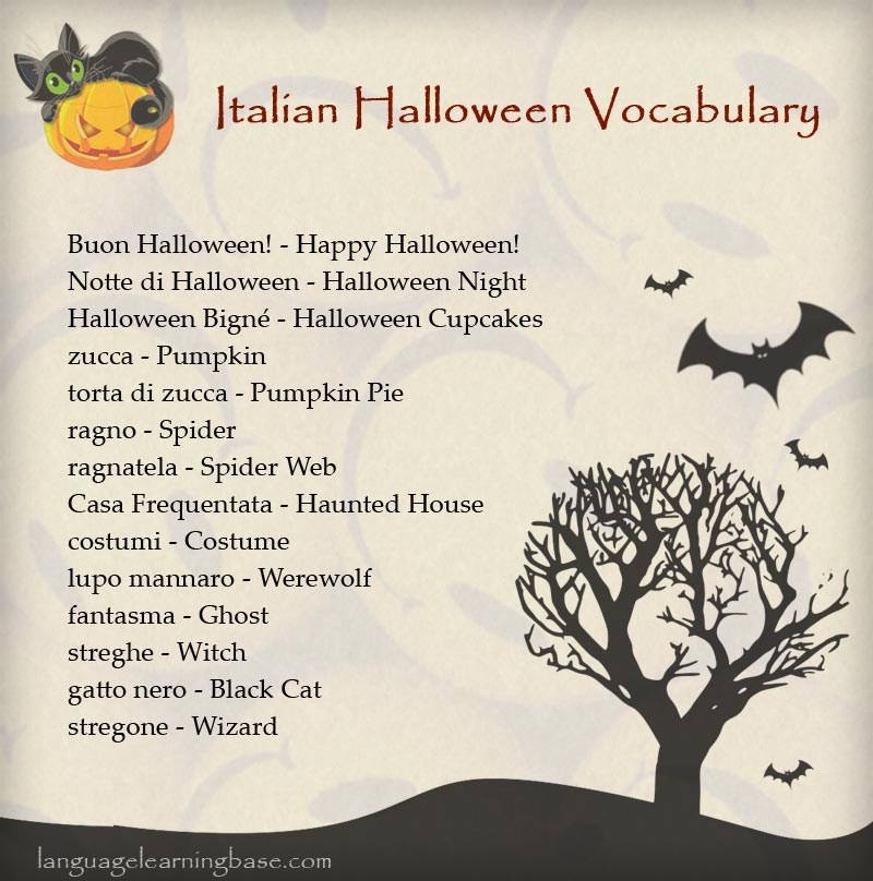 Italian Halloween Vocabulary - learn Other languages,vocabulary ...