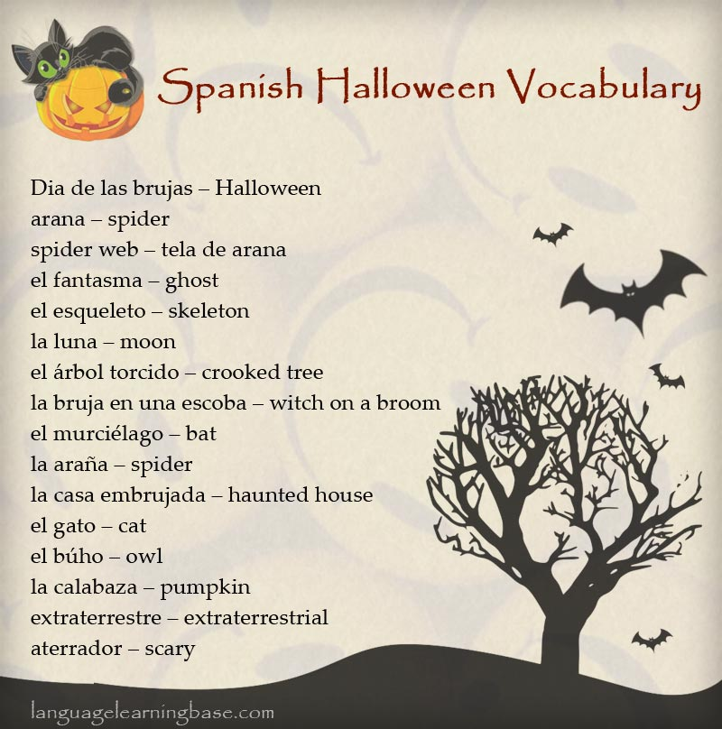 spanish halloween vocabulary - Halloween Vocab Words