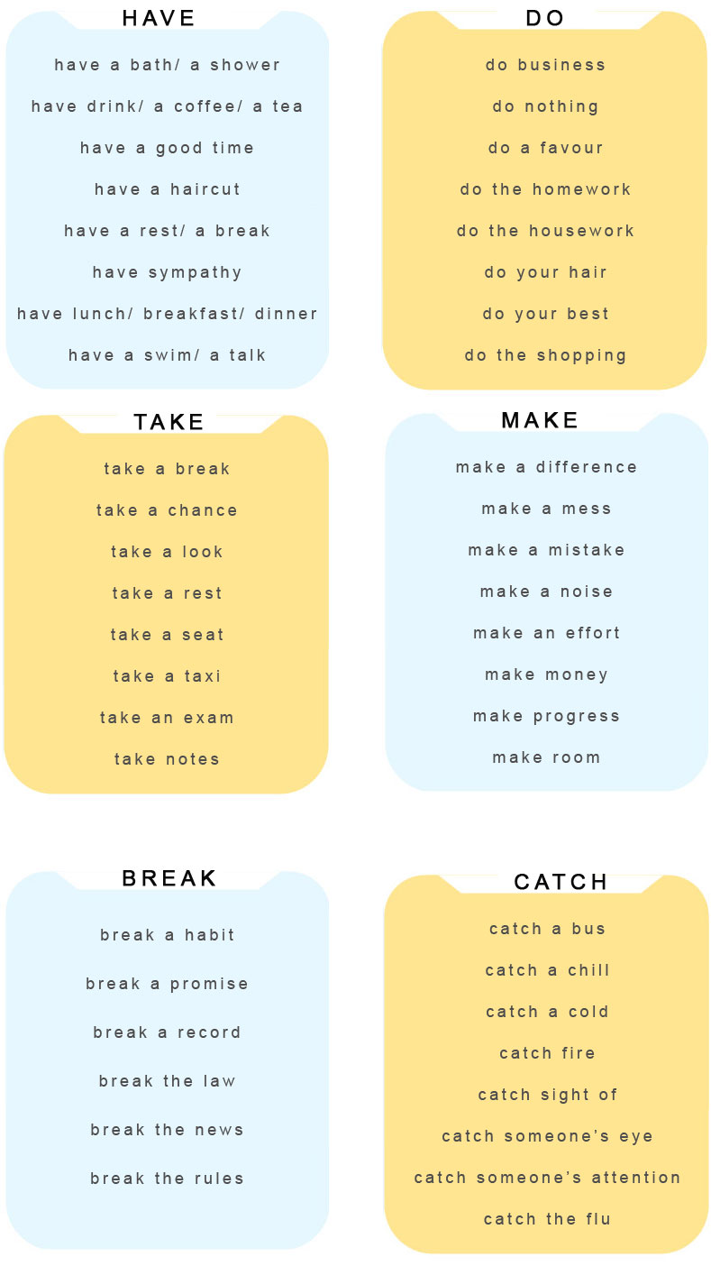 Useful Expressions With DO, HAVE, MAKE, TAKE, BREAK, CATCH