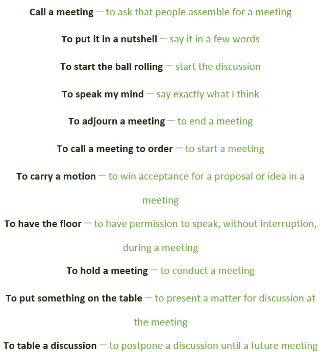 Idioms And Common Expressions For Discussion And Meetings Learn