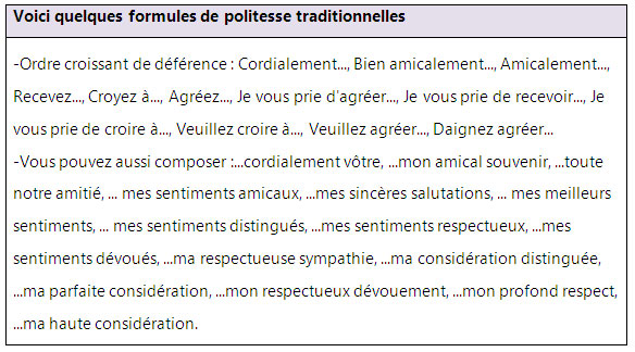 Formules De Politesse Pour Vos Lettres Et Courriers Learn French