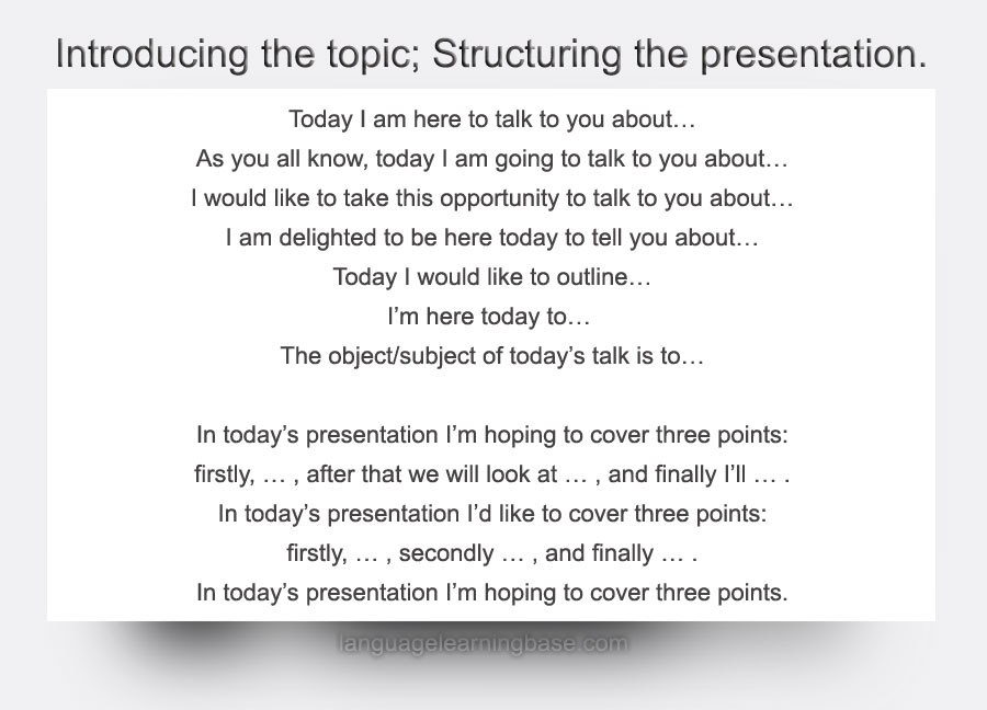 give an amazing presentation in english tips language phrases
