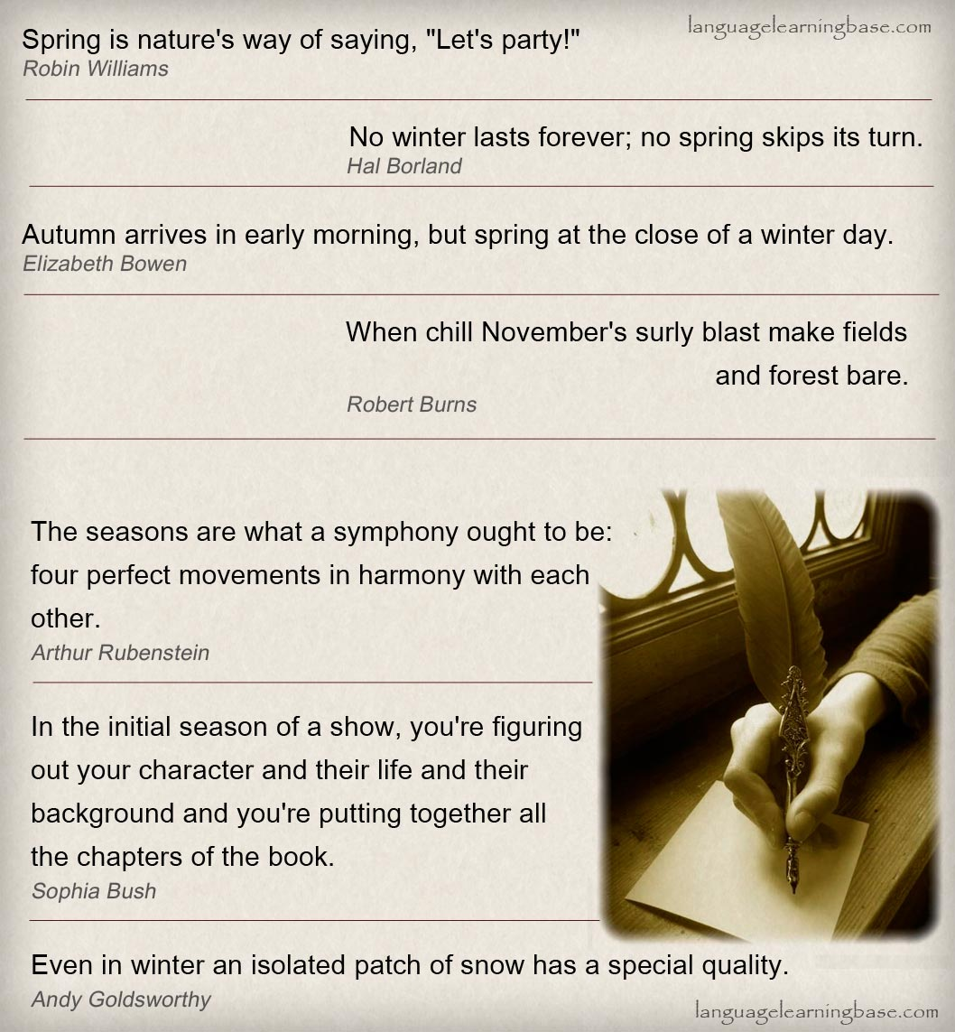 Seasons Of Life Quotes Famous Quotes About Seasons  Learn Englishquotes