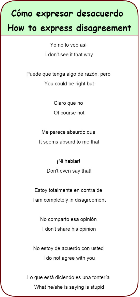 Expressions Of Agreement And Disagreement Learn Spanish