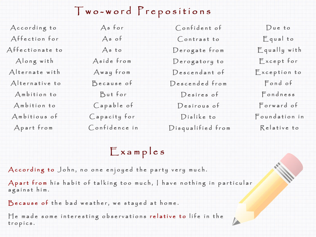Preposition examples.